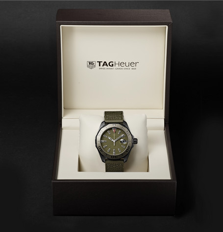 1e4bf8dd0a20 Shop Tag Heuer Aquaracer Automatic 43Mm Titanium And Nylon Watch In ...