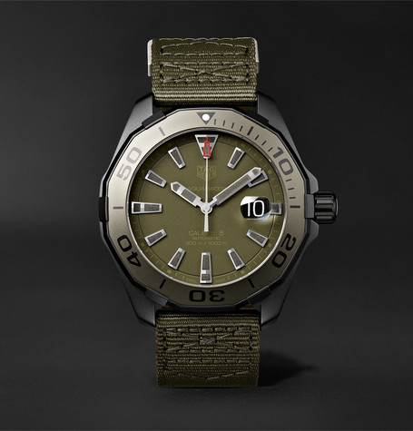 Aquaracer Automatic 43mm Titanium And Nylon Watch - Army green