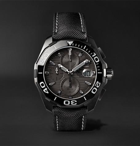Aquaracer Automatic Chronograph 43mm Titanium And Nylon Watch - Black
