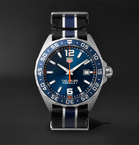 Formula 1 43mm Stainless Steel And Nato Webbing Watch - Blue