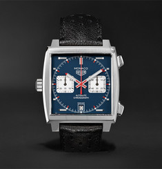 TAG Heuer - Monaco Automatic Chronograph 39mm Steel and Leather Watch