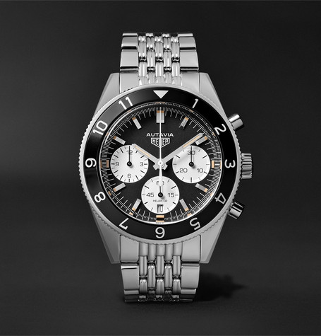 Autavia Automatic Chronograph 42mm Polished-steel Watch - Silver