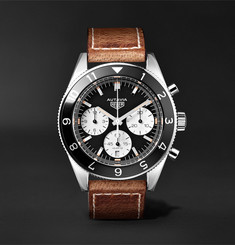 TAG Heuer - Autavia Automatic Chronograph 42mm Polished-Steel and Leather Watch