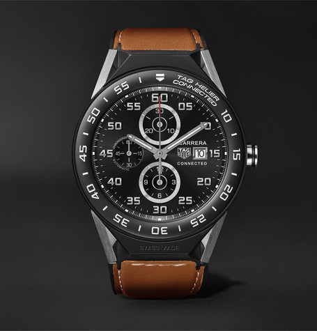 Connected Modular 45mm Titanium, Ceramic And Leather Smartwatch - Tan