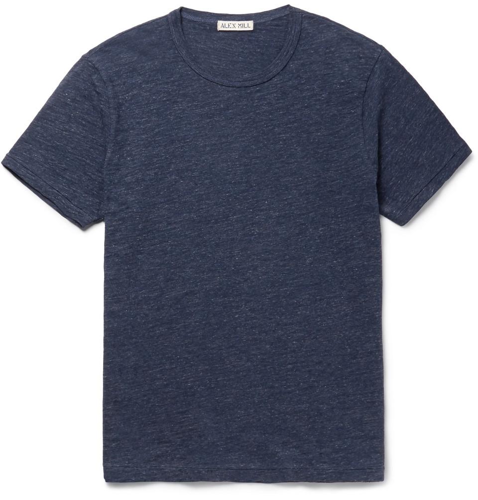 Slim-fit Mélange Slub Cotton-jersey T-shirt - Storm blue