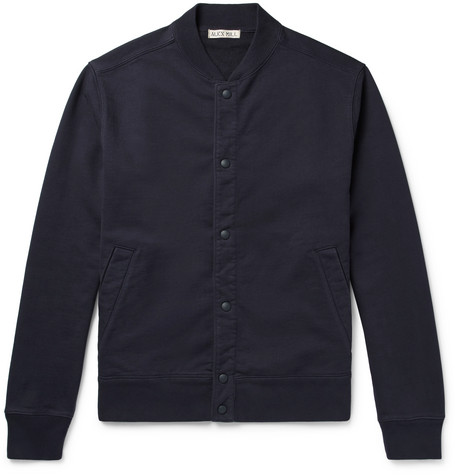 Loopback Cotton-jersey Bomber Jacket - Navy