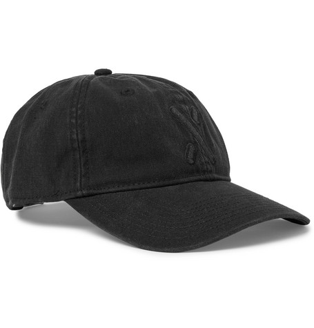 Embroidered Garment-dyed Cotton-canvas Baseball Cap - Black