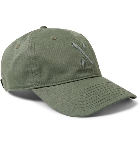 Embroidered Herringbone Cotton And Hemp-blend Baseball Cap - Army green