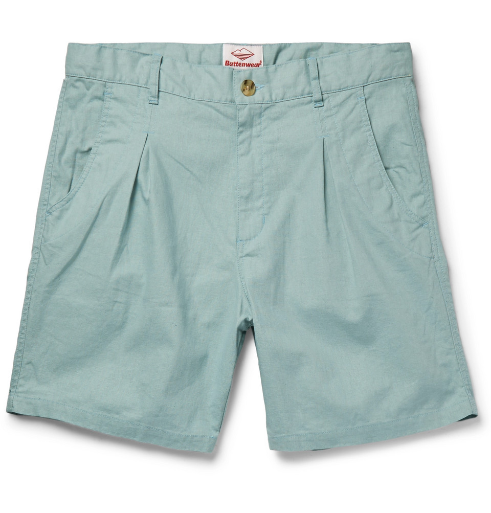 Pleated Slub Cotton Shorts - Light blue