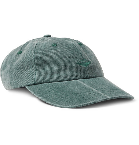 Embroidered Washed Cotton-twill Baseball Cap - Green