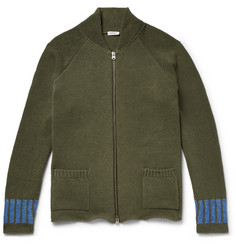 Eidos Slim-Fit Intarsia Cotton and Linen-Blend Zip-Up Cardigan
