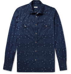 Eidos Cutaway-Collar Indigo-Dyed Printed Cotton Western Shirt