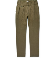 Eidos Slim-Fit Pleated Washed Linen-Twill Trousers