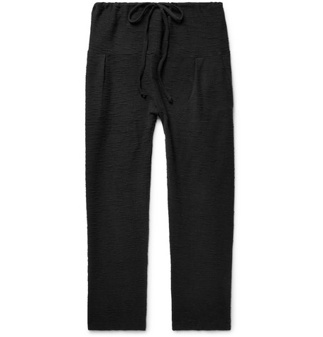 Tapered Pleated Bouclé Cotton Drawstring Trousers - Black