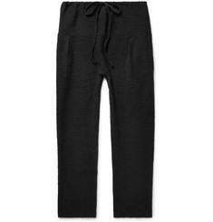 Eidos Tapered Pleated Bouclé Cotton Drawstring Trousers