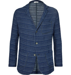 Eidos Blue Nicola Striped Cotton and Linen-Blend Blazer