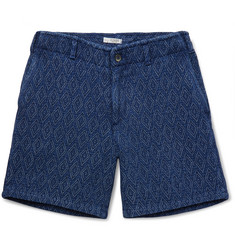 Eidos Morgan Sashiko-Stitched Indigo-Dyed Cotton Shorts