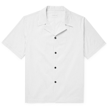 Camp-collar Striped Cotton Shirt - White