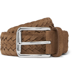 Tod's - 3.5cm Tan Woven Suede Belt