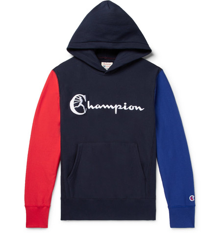 Champion Colour-block Embroidered Loopback Cotton-jersey Hoodie In Midnight Blue