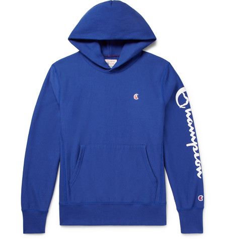 Champion Printed Loopback Cotton-jersey Hoodie In Blue