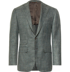 Thom Sweeney Grey-Green Slim-Fit Mélange Wool, Silk and Linen-Blend Blazer
