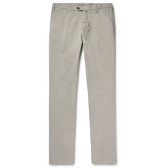 Thom Sweeney Slim-Fit Pleated Stretch-Cotton Chinos