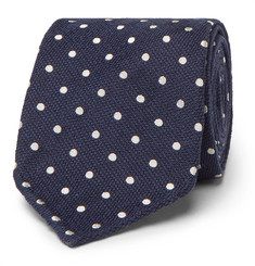Thom Sweeney 8cm Polka-Dot Textured-Silk Tie