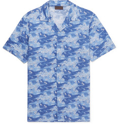 Altea Slim-Fit Camp-Collar Printed Cotton Shirt