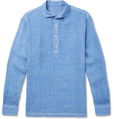 Altea Garment-Dyed Slub Linen Half-Placket Shirt