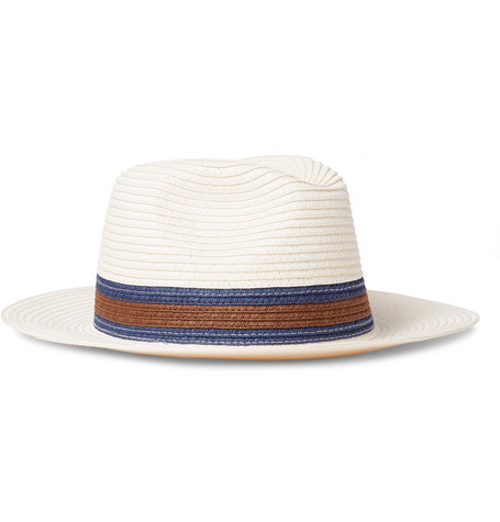 Striped Woven Trilby Hat - Off-white