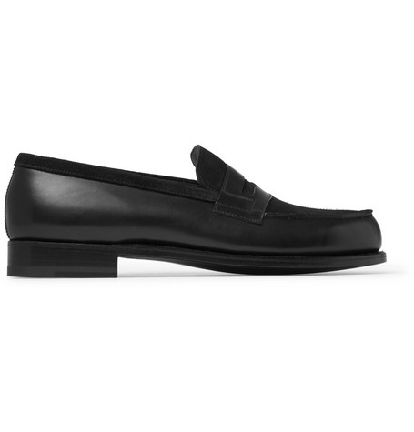 J.m. Weston Leather And Suede Penny Loafers In Black