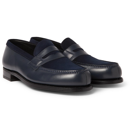 J.m. Weston Leather And Suede Penny Loafers In Blue