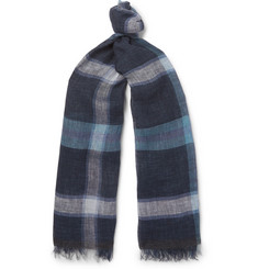 Oliver Spencer Forte Checked Linen Scarf