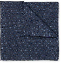 Oliver Spencer Deacon Cotton and Linen-Blend Jacquard Pocket Square