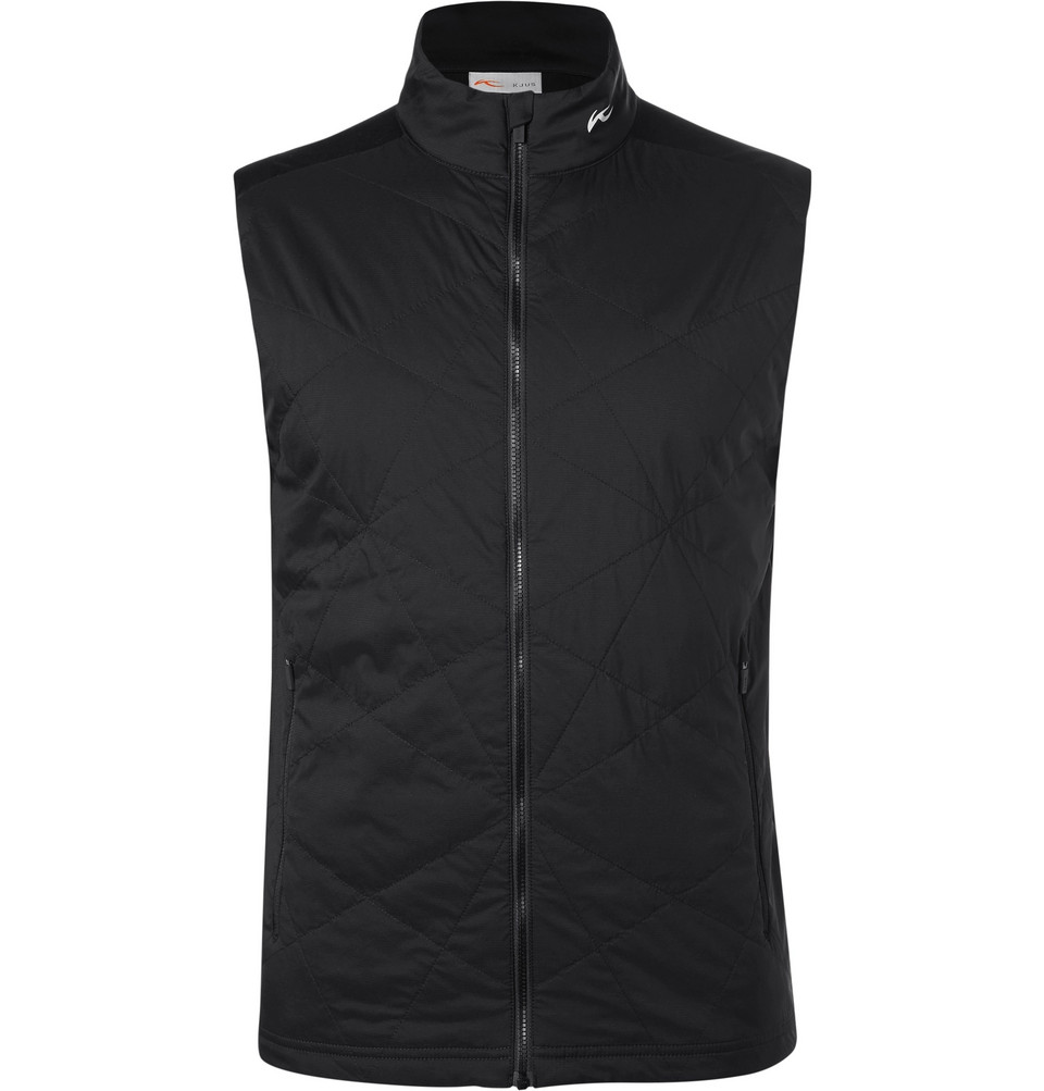 Retention Quilted Shell And Jersey Golf Gilet - Black