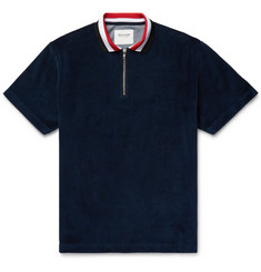Noon Goons Valet Cotton-Blend Velour Half-Zip Polo Shirt