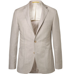 Canali - Stone Kei Slim-Fit Wool and Linen-Blend Suit Jacket