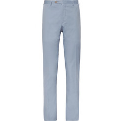 Canali - Light-Blue Slim-Tapered Stretch-Cotton Suit Trousers