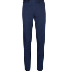 Canali Navy Slim-Fit Tapered Stretch-Cotton Suit Trousers