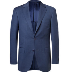 Canali Navy Slim-Fit Mélange Wool Suit Jacket