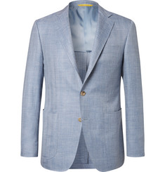Canali Light-Blue Kei Slim-Fit Herringbone Wool, Silk and Linen-Blend Blazer