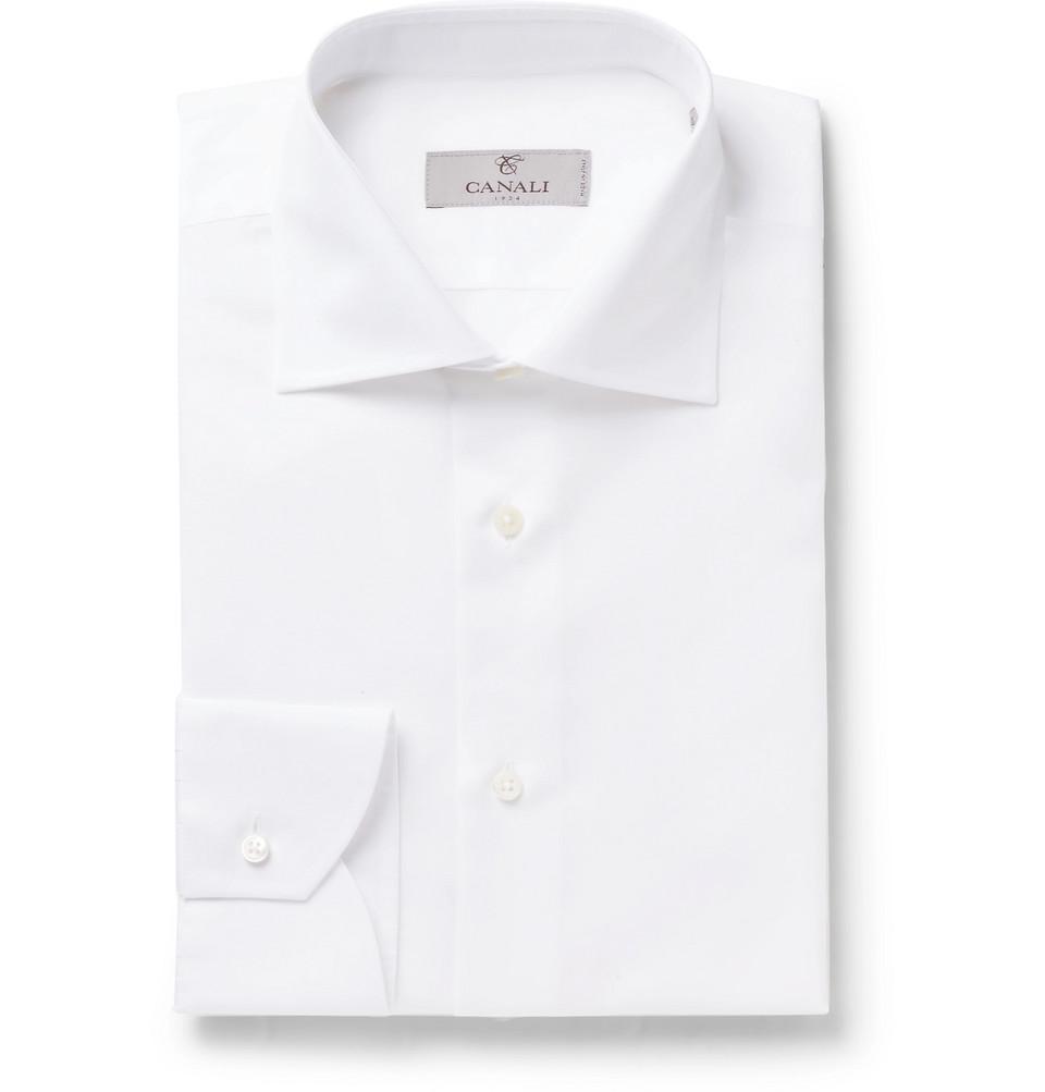 Canali White Slim-Fit Slub Cotton and Linen-Blend Shirt