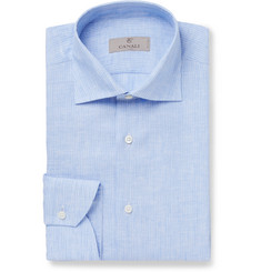 Canali Blue Striped Linen Shirt