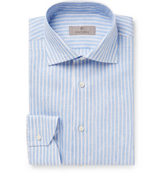 Canali - Blue Striped Slub Linen Shirt