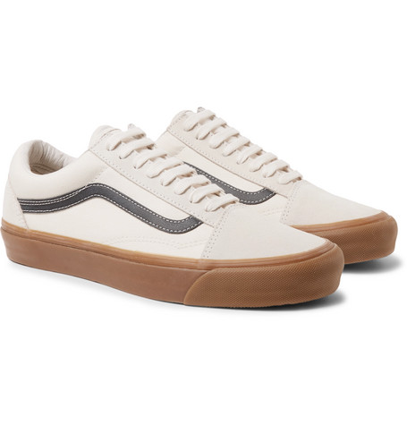 d71871d102b36d Vans Og Old Skool Lx Leather-Trimmed Canvas And Suede Sneakers In Cream