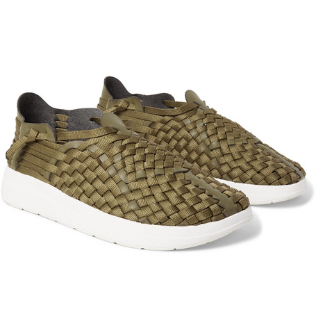 MALIBU Latigo Woven Faux Leather And Nylon-Webbing Shoes in Army Green