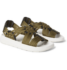 Malibu - Canyon Faux Leather-Trimmed Nylon-Webbing Sandals