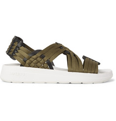 Malibu Canyon Faux Leather-Trimmed Nylon-Webbing Sandals