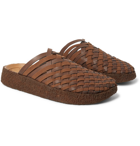 MALIBU Colony Woven Faux Suede And Leather Sandals in Dark Brown